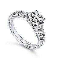 Yara 14k White Gold Round Straight Engagement Ring angle 3