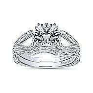 York 18k White Gold Round Split Shank Engagement Ring angle 4