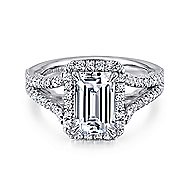 Zaina 18k White Gold Emerald Cut Halo Engagement Ring angle 1