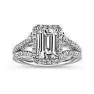 Zaina 18k White Gold Emerald Cut Halo Engagement Ring angle 5
