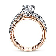Zaira 14k White And Rose Gold Round Free Form Engagement Ring angle 2
