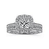 Zelda 14k White Gold Cushion Cut Halo Engagement Ring