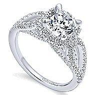 Zinnia 14k White Gold Round Halo Engagement Ring angle 3