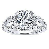 Zinnia 14k White Gold Round Halo Engagement Ring angle 5
