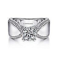 Zoella 14k White Gold Round Wide Band Engagement Ring