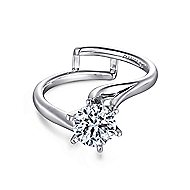 Zoey 14k White Gold Round Bypass Engagement Ring angle 1