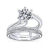 Zoey 14k White Gold Round Bypass Engagement Ring angle 4