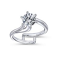 Zoey 14k White Gold Round Bypass Engagement Ring angle 5