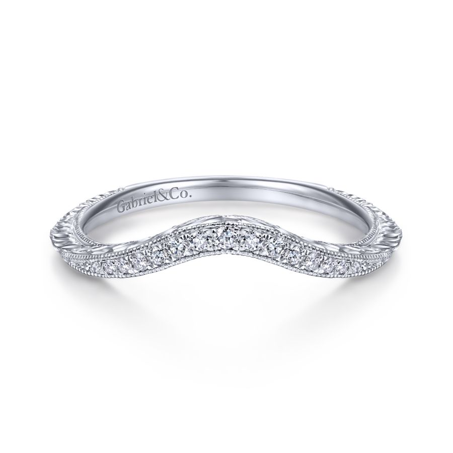 14K White Gold Matching Wedding Band angle