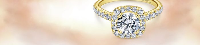 14K Yellow Gold Cushion Halo Round Diamond Engagement Ring angle