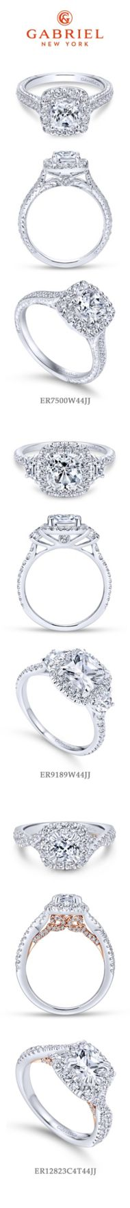 14K White Gold Cushion Halo Diamond Engagement Ring angle